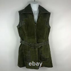 Vtg 70s Shayne Olive Green Suede Leather Belted Zip Front Vest Mini Dress Sz 12