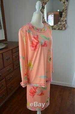 Vtg 80s LEONARD Paris Signature Peach Floral Silk Jersey 2 Pc Skirt Top Dress! M