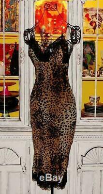 Vtg 90's Betsey Johnson Dress LEOPARD Animal Sexy Cocktail Party Slip L 8 10 12