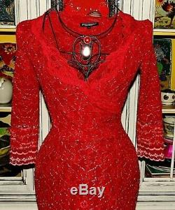 Vtg 90's Betsey Johnson Dress Red STRETCH LACE Cocktail Evening Party S 2 4 6