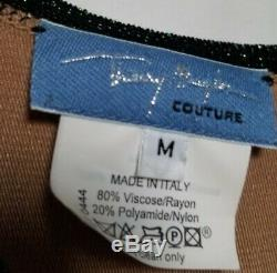 Vtg 90's Thierry Mugler Kassman maxi Bodycon Maxi Dress M knit crochet metallic
