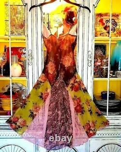 Vtg 90s Betsey Johnson Dress Floral Rose Mix Up Slip Silk Lace Fit Flare S 0 2 4