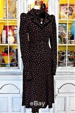 Vtg 90s Betsey Johnson Dress Skirt Top Jacket Black ROSEBUD Victorian Peasant S