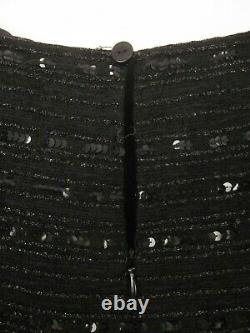 Vtg 90s Chanel Identification Line Black Sequin Cocktail Dress 48 L
