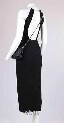 Vtg 90s Y2K KAREN MILLEN Crystal Mock Neck Backless Elegant Long Dress 10