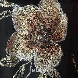 Vtg ALBERTO MAKALI Ladies Black Gold Embroidered Silk Evening Dress Sze 6/8 US 4