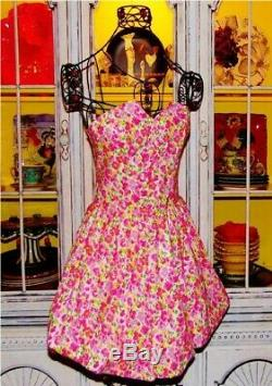 Vtg Betsey Johnson Dress ROSEBUDS Floral Pink Strapless Womens Casual Party 4 S