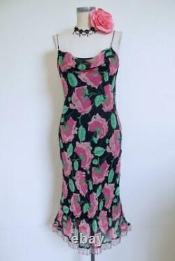 Vtg Betsey Johnson Silk Bias Dress S M Beaded Fringe Roses Print Blk Pink Drape
