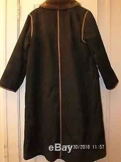 Vtg Bonnie Cashin Weatherwear Faux Fur Lined Trench Coat Russ Taylor Black Sz M