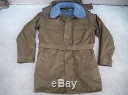 Vtg Czech Drab Army Field Jacket Parka Military Sherpa Lined Overcoat Men's LG