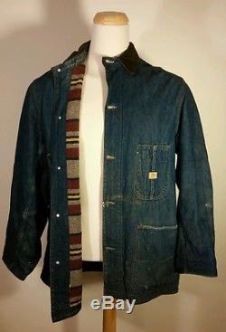 Vtg Distressed Hercules Denim Blanket Lined Chore Coat Jacket Barn Railroad Wool