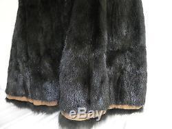 Vtg Duffle Coat Brown Wool Black Beaver Fur Lined A-Line Size M
