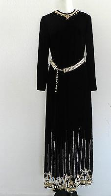 Vtg Evening Gown Maxi dress Black Velvet Beading Size L. Las Vegas Sahara Hotel