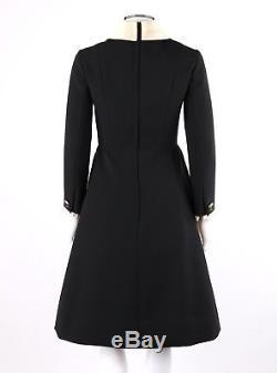 Vtg GEORGETTE TRILERE Trimar c. 1960's Black A Line White Collar Bow Sheath Dress