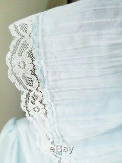 Vtg GUNNE SAX Victorian Prairie Maxi Dress Blue White Lace Trim & Ribbons Lined