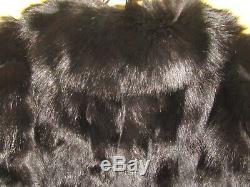Vtg Gorgeous Scaasi Women's Fox Fur Coat Silk Lined Sz L/XL & Head band Black