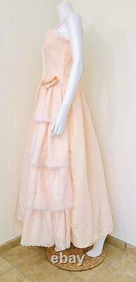 Vtg Gunne Sax Jessica McClintock Peach Rosette Ivory Lace Prom Dress Size 7/8