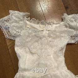 Vtg Jessica McClintock Dress Lace White Ivory Size 8 USA Victorian Tulle Lined