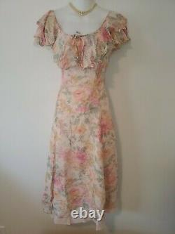 Vtg Laura Ashley Tea Dress Pink Floral Silk Ruffled Collar A-Line SS Size 12
