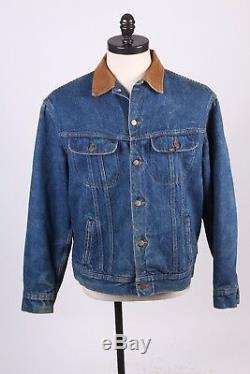 Vtg Lee Storm Rider Blanket Lined Denim Jean Coat Jacket USA Mens Size 46 Long