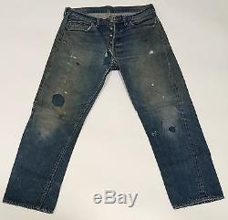 Vtg Levis Big E Jeans Thrashed Red Line Button Fly Mining Distressed 32 Unisex