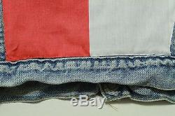 Vtg Levis Denim Jacket Sherpa Lined Red Tab Jacket Coat L Texas Flag Star USA
