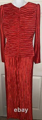 Vtg Lillie Rubin George F. Couture NY Gown Red Fortuny Pleated Dress 8
