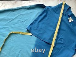 Vtg MERRY FINN dress 1970s length 3/4 sleeves a-line blue size 36 USA 8 Finland