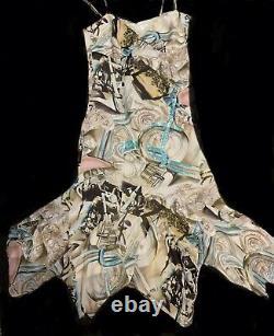 Vtg NICOLE MILLER Dress Sz 6 100% Silk Hand Painted Moto Print Sequin Accents