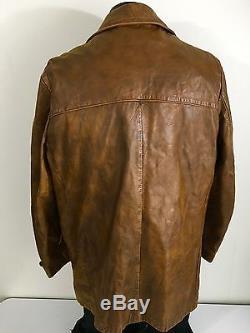 Vtg NORDSTROM Men's COGNAC GOAT SKIN Leather Sport Coat LINED Jacket 42 R Large
