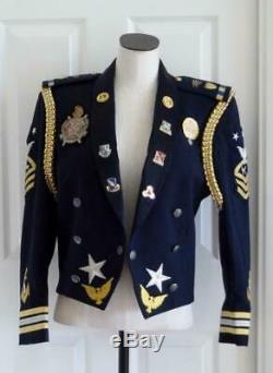 Vtg OOAK Embellished USAF Navy Military Dress Uniform Rock Star Steampunk Jacket