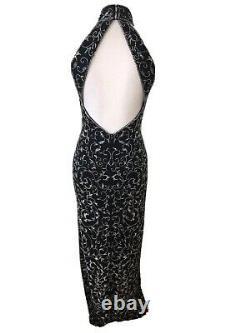 Vtg Oleg Cassini Black Tie 4 Black Silk Bead Evening Dress Romantic Halter Gown