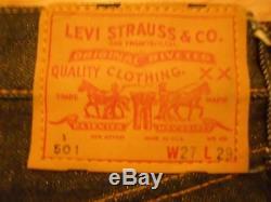 Vtg. Original 60s LEVI's 501E S Type S/S Big E Red Line W 27x L 29 Deadstock