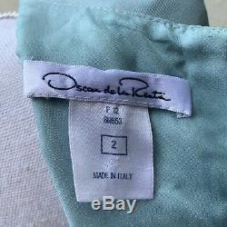 Vtg Oscar de la Renta Diamond Jewel Print blue Silk dress Made in Italy 2