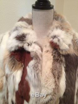 Vtg PATCHWORK FUR COAT JACKET Brown Tan Cream with Insulated Lined Winter Sz M