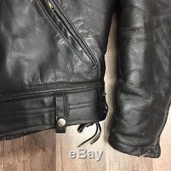 Vtg Police Leather Motorcycle Jacket Coat Fur Lined Serval Zipper Rare Old