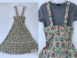 Vtg S 70s A Line Overall Floral Maxi Dress Cottagecore Prairie by KADIX England