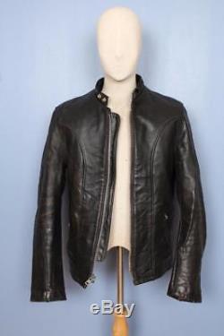 Vtg SCHOTT Fleece Lined Leather Cafe Racer Motorcycle Jacket Size Medium
