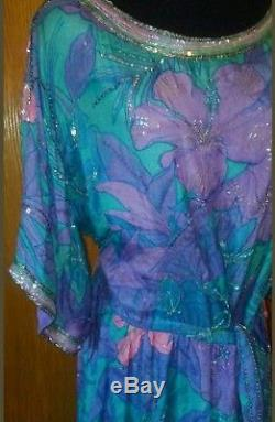 Vtg Silk Farm Neiman Marcus Dress 100% Crinkled Silk Georgette Lined Size XL