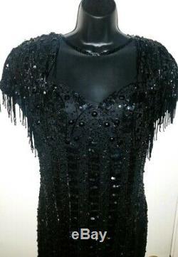 Vtg Silk Nite Line 80's Sequin Fringe Beaded Black Dress Sheer Front & Open Back