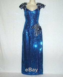 Vtg Stunning Royal Blue Sequin Covered Satin Taffeta Lined Xlong Dress Gown S