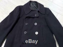 WWII vintage US NAVY peacoat WOOL blue NAVAL CLOTHING FACTORY corduroy 40 42 M
