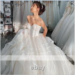 White/Ivory Sweetheart A Line Tulle Organza Wedding Dress Lace Up Bridal Gown