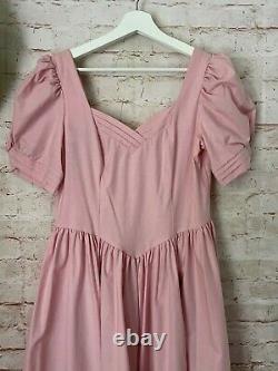Women's LAURA ASHLEY Size 12 Pink Vintage Puff Sleeve A-Line Cotton Dress Vtg