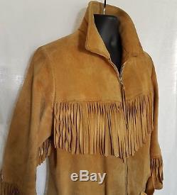 Women's Med Buckskin Fringed Leather Jacket Western Boho Hippie Lined Zip Coat