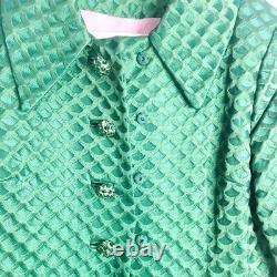 Womens A Line Sleeveless Dress Coat Set Green Metal Buttons Retro Vintage S