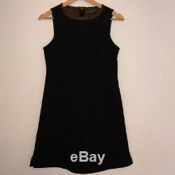 Womens Vintage Fendi Dress Black Brown Stripy A Line Sleeveless Shift Size Small