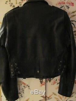 Worn 2X Vintage 90s DONNA KARAN Moto Jkt. Excellent heavy Leather Lined Size P/S