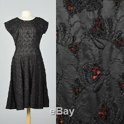 XL 1950s Black Eyelet Dress Red Lining Spring Summer Cocktail Party Evening 50s