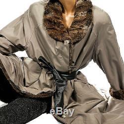 XL Seidenmantel Seide Mantel mit Pelzfutter Maihamster silk coat fur lined seta
